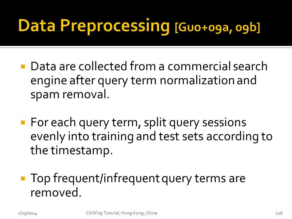 Data Preprocessing [Guo+09a, 09b]
